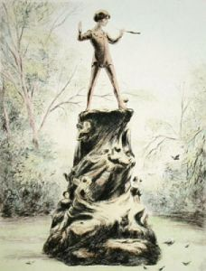 Peter Pan Statue (large) (Restrike Etching) by Anonymous