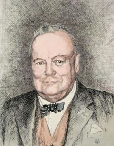 Mr W. S. Churchill (Restrike Etching) by Anonymous
