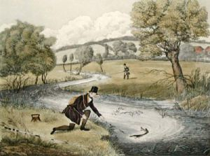 Live-Bait Fishing For Jack (Restrike Etching) by James Pollard