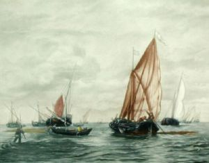 Fishing Boats Pl. II (Restrike Etching) by Anonymous