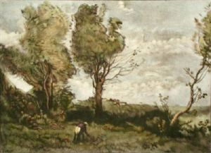 The Flower Gatherer (Restrike Etching) by Jean-Baptiste-Camille Corot