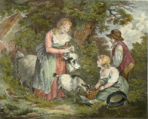 Children Feeding Goats (Restrike Etching) by George Morland
