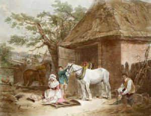 Feeding the pigs (Restrike Etching) by George Morland