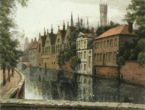 Bruges, Belgium (Restrike Etching) by Anonymous