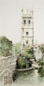 Oxford, Magdalen Tower (Restrike Etching) by Anonymous