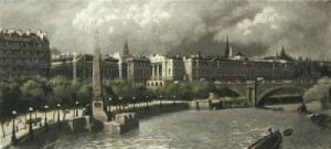 Embankment & Cleopatras Needle (Restrike Etching) by Anonymous