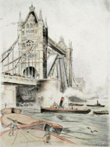 Tower Bridge (Restrike Etching) by Anonymous