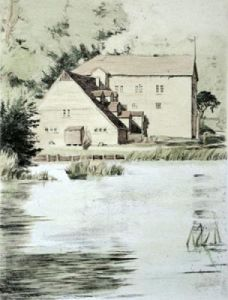 Streatley Mill, Oxfordshire (Restrike Etching) by Anonymous