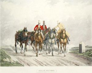 English Post Boys (Restrike Etching) by Anonymous
