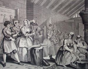 Harlots Progress, Bridewell (Restrike Etching) by William Hogarth