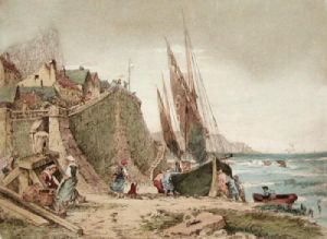 Fishing in Bretagn, France IV (Restrike Etching) by Anonymous