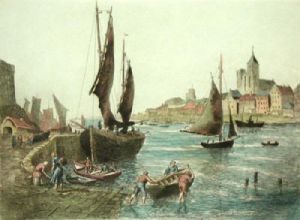 Fishing in Bretagn, France V (Restrike Etching) by Anonymous