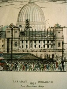Faraday Building (Restrike Etching) by Anonymous