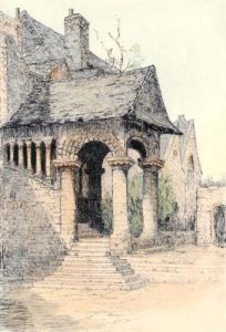 Canterbury, Norman Staircase (Restrike Etching) by Anonymous