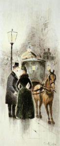 Hanson Cab (Restrike Etching) by Cecil Cutler