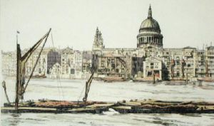 St Pauls from the Thames (Restrike Etching) by Anonymous
