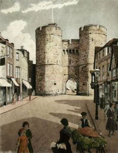 Canterbury, West Gate (Restrike Etching) by Anonymous