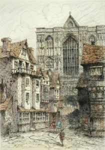 Old London Westminster (Restrike Etching) by Anonymous