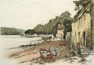 Dittisham, Devon (Restrike Etching) by Anonymous