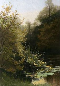 Rushes and Lily Leaves (Restrike Etching) by Georgina M De L'Aubiniere