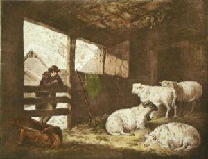 Morland's Winter (Restrike Etching) by George Morland