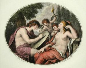 Cupids - Pl. II (Oval) (Restrike Etching) by Anonymous