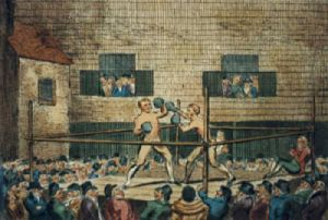 Sparring Match at Fives Court (Restrike Etching) by Robert Cruikshank