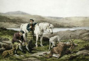 Luncheon time on the moors (Restrike Etching) by James Hardy Jr