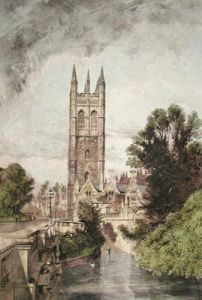 Magdalen College, Oxford (Restrike Etching) by Anonymous