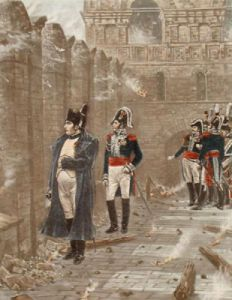 Napoleon & Officers (Restrike Etching) by Anonymous