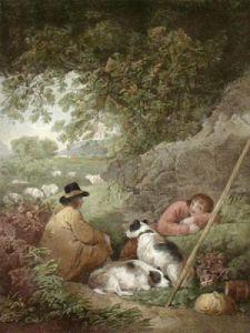 Shepherds Reposing (Restrike Etching) by George Morland