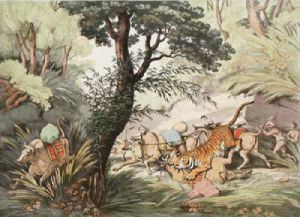 Tiger Seizing a Bullock (Restrike Etching) by Samuel Howitt