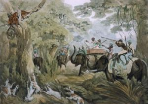 Shooting a Leopard (Restrike Etching) by Samuel Howitt