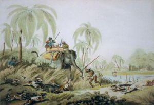 Hunting a Kuttauss (Restrike Etching) by Samuel Howitt