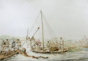 Killing Game in Boats (Restrike Etching) by Samuel Howitt