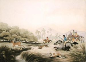Hunting a hog deer (Restrike Etching) by Samuel Howitt