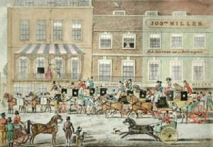 West Country Mails, Piccadilly (Restrike Etching) by James Pollard