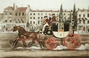 Pair Horse Short Stage Coach (Restrike Etching) by James Pollard