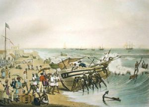 Madras Embarking (Restrike Etching) by J B East