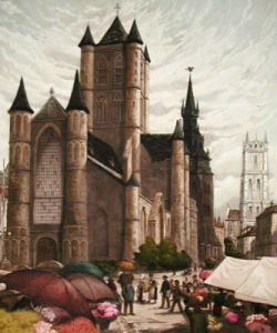 Belgian Flower Market (Restrike Etching) by Anonymous