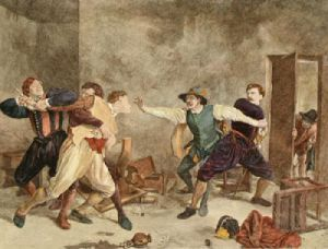 The Quarrel (Restrike Etching) by Jean-Louis Ernest Meissonier