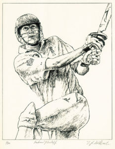 Andrew Flintoff (Restrike Etching) by Terence Gilbert
