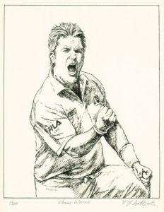 Shane Warne (Restrike Etching) by Terence Gilbert
