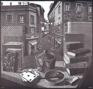 Still Life and Street by M.C. Escher