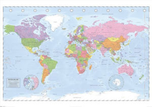 Political World Map - Miller Projection (large) by Anonymous