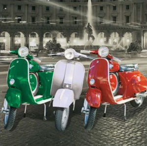 Vespas - Italian Flag by Anonymous