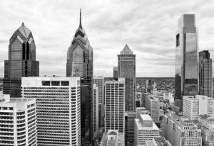 Philly Skyline (b w) by Erin Clark