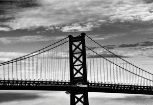 Benjamin Franklin Bridge (b w) by Erin Clark