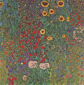 Farm Garden with Sunflowers, around 1905 1906 by Gustav Klimt