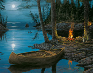 Camp Fire Canoe by Ervin Molnar
